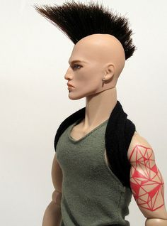 OOAK Male Fashion Royalty Doll. Mohawk and Geometric Tatoo.