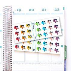 Rainbow Mailbox Icon Planner Stickers - Vertical or Horizontal Erin Condren // R8