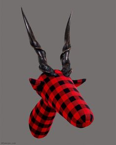 """Eloper - in German I call it """"Kleinkariert"""" > literally translated as """"small chequered"""", but of course it actually means """"narrow-minded"""". It's my very first tartan trophy with real antlers; Contemporary Sculpture, Contemporary Art, Sculpture Painting, Figurative Art, Surrealism, Tartan, Antlers, Instagram Posts, Mixed Media"""