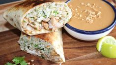 Coconut Lime Chicken Burrito with Pic's sauce