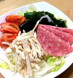 本日もダイエットメニュー(・・;) うどんは一人半玉で我慢なのです - 21件のもぐもぐ - Japanese noodles salad  サラダうどん by Yasuko1113