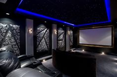 Home theater, LED ceiling, upholstered panels, black, gray, charcoal