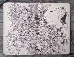 Gabriel Picolo Le Lion Les dessins Noir et Blanc incroyables au crayon et au stylo