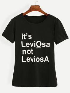 T-shirt motif lettres - Noir