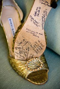 Wedding Shoe Keepsake. Start at the bridesmaid luncheon with a cinderella shoe display & pens.