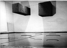 Pino Pascali: 9mq. di pozzanghere: 1mc di terra e 2 mc di terra, 1967. Acqua e terra, 1967; Fuoco immagine acqua terra, 1967.