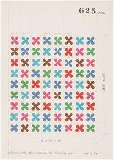 Alexander Girard, Design drawing for printed fabric - Quatrefoil, 1954. For Herman Miller.