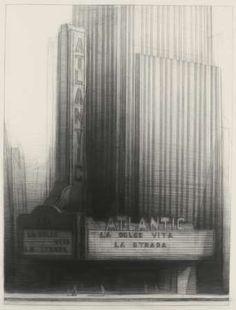 Richard Bunkall, La Dolce Vita, 45'' x 34'', charcoal on paper, 1992