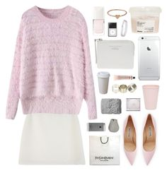 """""""mink pink"""" by jesicacecillia ❤ liked on Polyvore featuring Christian Dior, Davines, Bloomingville, Manolo Blahnik, Catbird, Grown Alchemist, Yves Saint Laurent, Neon Hart, Case-Mate and Topshop"""