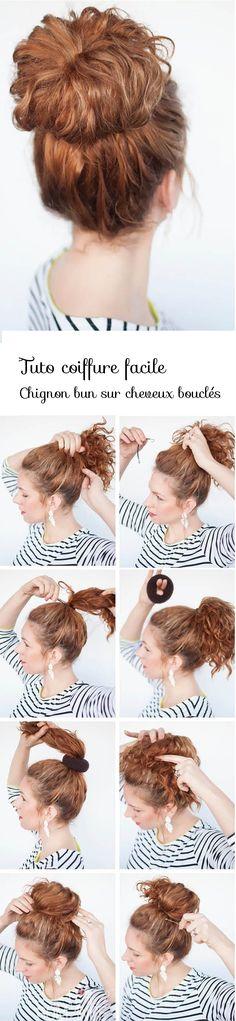 tuto coiffure chignon bun cheveux boucles
