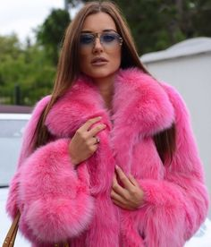 Image may contain: one or more people Fur Fashion, Pink Fashion, Winter Fashion, Womens Fashion, Fox Fur Jacket, Fox Fur Coat, Fur Coats, Pink Fur Jacket, Sable Fur Coat
