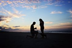 I just got engaged this past Saturday! My boyfriend and I were taking a trip to Georgia to visit family (we live in Tennessee) and on the way he informed me we were taking a detour to the beach since we never got to go this summer. Well, he gave me his phone with a song to listen to while he set up a tripod with my camera. He said he wanted our first sunrise picture together. He ran over and got on one knee and pulled out a ring! I love that our dog is in the picture too!!! PERFECT MOMENT!!!