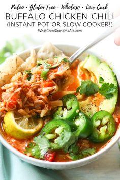 This spicy and delicious Paleo Buffalo Chicken Chili is an easy set-it-and-forget-it meal whether you use a slow cooker or the Instant Pot! via Jean Choi Slow Cooker Recipes, Paleo Recipes, Real Food Recipes, Free Recipes, Lean Recipes, Chili Recipes, Delicious Recipes, Crockpot Recipes, Chicken Recipes