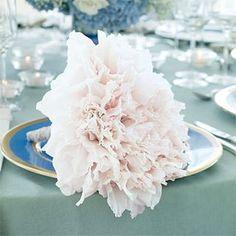 Perfect pale pink gladiola glamelia on a pretty plate via Brides.
