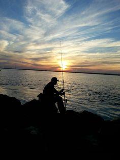 Taking a break from fishing and enjoying a beautiful sunset on long Island