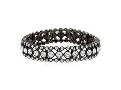 "DRESS CODE Hematite plated, crystal, 7"" stretch bracelet.  Item #50081"