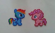 Baby Pinkie Pie & Rainbow Dash My Little Pony perler hama beads magnet - Mon Petit Poney by FimoParadise on Etsy https://www.etsy.com/listing/268678406/baby-pinkie-pie-rainbow-dash-my-little
