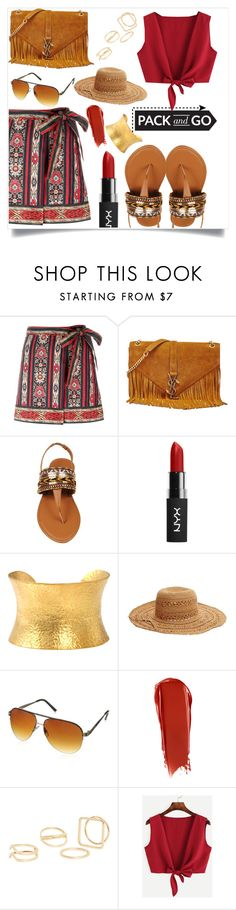 """Pack And Go"" by israa-rz ❤ liked on Polyvore featuring Étoile Isabel Marant, Yves Saint Laurent, Yossi Harari, Betsey Johnson, XOXO, NARS Cosmetics and MANGO"