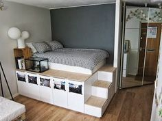 elevated bed with stairs and storage