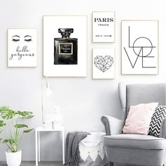 Fashion Wall Art Pictures Canvas Painting Bedroom Wall Decor Eyelash Perfume Love Hello Gorgeous Quote Vogue Posters and Prints – fashion quotes Bedroom Wall Designs, Bedroom Art, Wall Art Designs, Living Room Bedroom, Bedroom Ideas, Wall Drawing, Fashion Wall Art, Wall Art Quotes, Quote Wall
