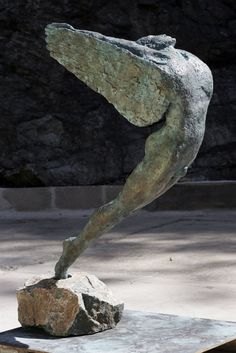 Bronze Male Men Youths Masculine sculptures statuettes figurines sculpture by sculptor Janis Ridley titled: 'Icarus' - Artwork View 2