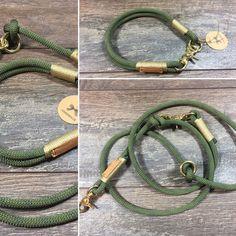 Hund: Halsbänder - Hundeleine + Halsung im Set Tauleine OLIV - ein Designerstück von WESERLAND-Leinen bei DaWanda