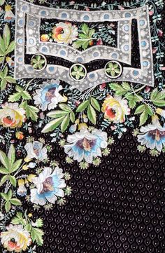 Detail pocket flap, court coat, France or Spain, 1790s with later alterations. Voided black velvet, embroidered with floral naturalist flowers and lace effects with tulle edgings.
