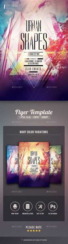Tropical Flyer Flyer template, Party flyer and Font logo - geometric flyer template