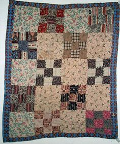 RARE CIVIL WAR ERA HAND MADE FOLK ART DOLL QUILT WITH AWESOME OLD FABRICS - COMPLETELY HAND SEWN.