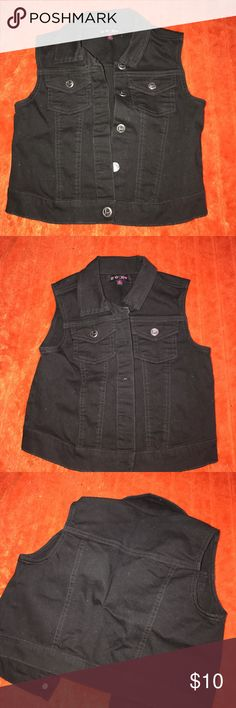 Girls denim vest Black vest that goes with everything. Jeans. Skirts. Dress. This vest can be dressed up or down. Perfect throw on and go vest. Energie Shirts & Tops