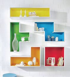 The Attic Multicolour Tetris Mango Wood Wall Shelf