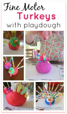 Fine Motor Turkeys with Playdough | This Reading Mama - I'm going to add a step of having to roll 1 color and 1 number die to this for the students to have to put on specific color/number of beads.