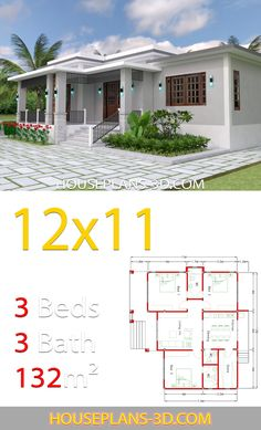 Home design with 3 Bedrooms Terrace roof - House Plans Beach House Plans, Bungalow House Plans, Family House Plans, Bungalow House Design, Cottage House Plans, Country House Plans, Dream House Plans, Modern House Plans, Small House Plans