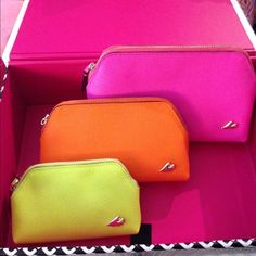 DVF new w tags- set of 3 makeup pouches Gorgeous set of 3 leather make up pouches from DVF. New w tags. Comes in a DVF gift box as well. see last photo for more details and dimensions! Diane von Furstenberg Bags Travel Bags