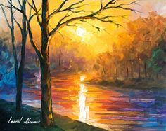 Yellow River Oil painting by Leonid Afremov by Leonidafremov.deviantart.com on @DeviantArt