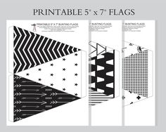 Monochrome bunting flags, kids room, baby nursery, baby shower, party, print and assemble by hcmorrison on Etsy