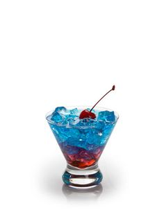 STAR SPANGLED SPIRIT     1 ounce vodka     1 ounce blue curacao     1 dash grenadine     4 ounces lemon-lime soda     1 maraschino cherry  Combine vodka and blue curacao in a cocktail shaker. Pour in a highball glass filled with ice and top with lemon-lime soda. Slowly pour grenadine into glass to create a layered look. Garnish with cherry