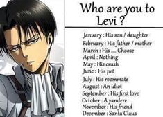 An idiot. That's means I'm a girl version of Eren, right? << as an Ereri shipper I am happy with this Levi Ackerman, Levi X Eren, Ereri, Yandere, Birthday Scenario Game, Birthday Games, Funny Birthday, Attack On Titan Meme, Titans Anime