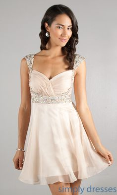 Short Cap Sleeve Cocktail Dress, Short Prom Dress- Simply Dresses *also in dark blue and red