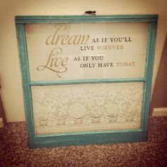 Old window art, love the teal with the gold vinyl.