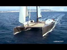 Super high tech but elegant design. Must be really expensive... SIG45 High Performance Catamaran Sailing Fast - YouTube
