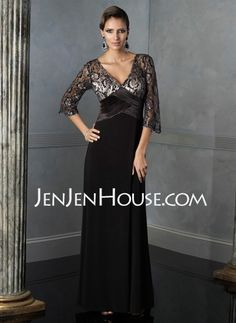 Mother of the Bride Dresses - $158.99 - A-Line/Princess V-neck Floor-Length Charmeuse Mother of the Bride Dresses With Lace  Sash (008005620) http://jenjenhouse.com/A-line-Princess-V-neck-Floor-length-Charmeuse-Mother-Of-The-Bride-Dresses-With-Lace--Sash-008005620-g5620