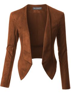 The colour is not for me but it's in line with what you said about no collars as such. This faux suede long sleeve cropped blazer jacket is so versatile. Cute Blazers, Blazers For Women, Jackets For Women, Clothes For Women, Women Blazer, Look Blazer, Blazer Suit, Blazer Jacket, Cute Blazer Outfits