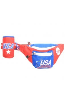 09ad9489993f Red USA Fanny Pack w  Koozie American Flag