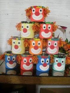 Latas palhacinhos Advent Calendar, Planter Pots, Recycling, Patches, Jar, Holiday Decor, Kindergarten, Home Decor, Craft
