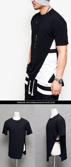 Tops :: Unbalance Elastic Band Slit Emboss Round-Tee 397 - Mens Fashion Clothing For An Attractive Guy Look