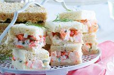creamy herbed prawn tea sandwiches