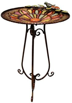 Alpine ORS196 Metal Colorful Birdbath with Bird and Leaves >>> You can find more details by visiting the image link.