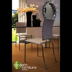 The Criss Cross Dining Chair works in any decor setting, modern or traditional. With its weaved straps this simple chair works in any space.