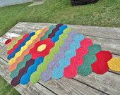 Crochet Flower Afghan, Baby Nursey, Rainbow, OOAK